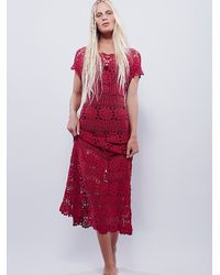 Free People | Red Fairytale Crochet Dress | Lyst
