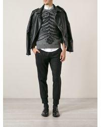 Saint Laurent - Gray Animal Print Sweater for Men - Lyst