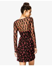 Forever 21 | Black Floral Print Lace Dress | Lyst