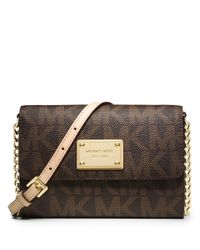MICHAEL Michael Kors | Brown Jet Set Monogram Large Phone Crossbody Bag | Lyst