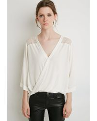 Forever 21 | Natural Contemporary Lace-paneled Top | Lyst