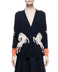 Stella McCartney - Blue Horse Intarsia Knit Cardigan - Lyst