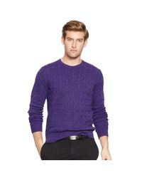 Polo Ralph Lauren | Purple Cable-knit Tussah Silk Sweater for Men | Lyst