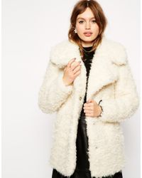 272fd49f0e9 Lyst - ASOS Faux Curly Fur Coat in White
