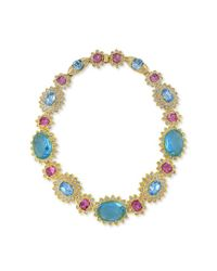 Kenneth Jay Lane | Multicolor Aquamarine And Pink Stone Necklace | Lyst