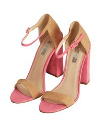 TOPSHOP | Pink Ratchet Block Heel Sandals | Lyst