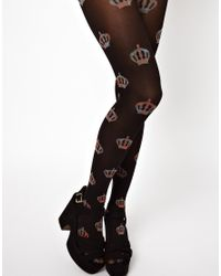 Jonathan Aston | Black Hints Of Prints Crowns Tartan Tights | Lyst