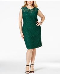 Spense - Green Plus Size Illusion Lace Dress - Lyst