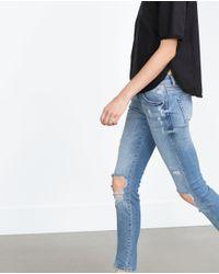 Zara   Blue Ripped Skinny Jeans   Lyst