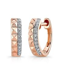 Anne Sisteron | Pink 14kt Rose Gold Spike Diamond Huggie Earrings | Lyst