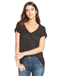 Splendid | Black Speckled Melange Short Sleeve Tee | Lyst