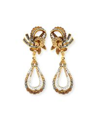 Jose & Maria Barrera | Metallic Gold-plated Crystal Swirl Teardrop Clip Earrings | Lyst