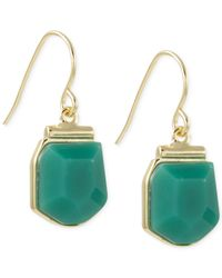 French Connection | Green Gold-tone Stone Drop Earrings | Lyst