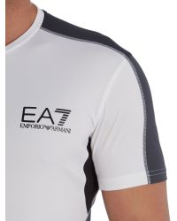 EA7 | White Ventus Tennis Logo Crew Neck Regular Fit T-shirt for Men | Lyst