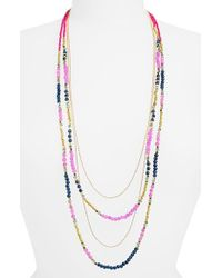 Panacea | Multicolor Beaded Layered Necklace - Fuchsia | Lyst