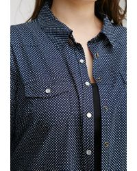Forever 21 | Blue Plus Size Polka Dot Shirt | Lyst