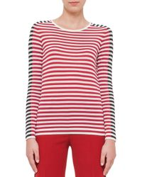 Akris Punto - Red Striped Colorblock Sweater - Lyst