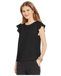 Cece by Cynthia Steffe | Black Flutter-sleeve Top | Lyst
