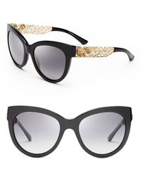 Dolce & Gabbana | Black Polarized Cat Eye Floral Filigree Sunglasses | Lyst