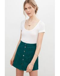 Bdg Twill Button-front A-line Skirt in Green | Lyst