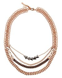 John & Pearl - Metallic Arrow Swarovski Hematite Rose Gold-plated Necklace - Lyst
