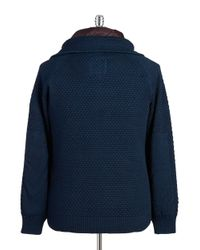 G-Star RAW - Blue Knit Zip Front Jacket for Men - Lyst
