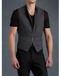 John Varvatos - Gray Full Zip Hybrid Waistcoat for Men - Lyst