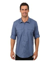 Calvin Klein | Blue End On End Dobby Grid Woven Shirt for Men | Lyst