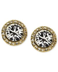 Givenchy | Metallic Gold-tone Swarovski Element Button Earrings | Lyst