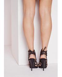 Missguided - Metallic Lasercut Tie Back Heeled Sandals Bronze - Lyst