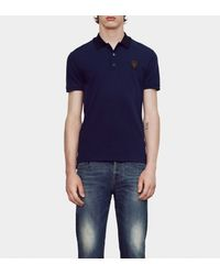 Gucci - Blue Stretch Cotton Piquet Polo With Patch Detail for Men - Lyst