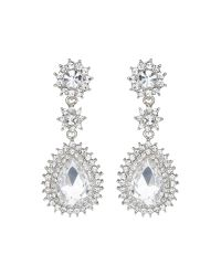 Mikey | White Marquise Eclipse Stone Drop Earring | Lyst