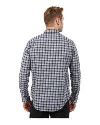 Lacoste - Blue Long Sleeve Poplin Check Woven Shirt for Men - Lyst