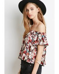 Forever 21 | Brown Floral Tie-dye Off-the-shoulder Top | Lyst