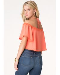 Bebe - Pink Fringed Flounce Sleeve Top - Lyst
