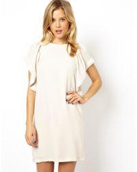 ASOS - Natural Ruffle T-Shirt Dress - Lyst