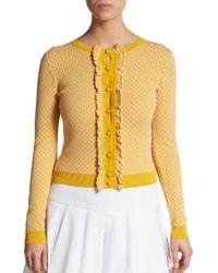 RED Valentino - Yellow Diamond-stitch Ruffled Sweater - Lyst