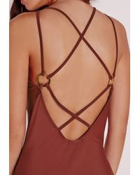Missguided | Brown Plunge Eyelet Detail Swimsuit Rust | Lyst