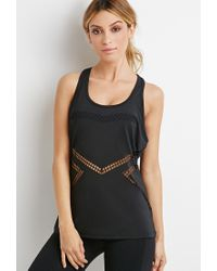 Forever 21 - Black Active Laser-cut Tank You've Been Added To The Waitlist - Lyst