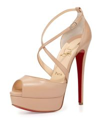 Christian Louboutin | Natural Cross Me Leather Platform Sandals | Lyst