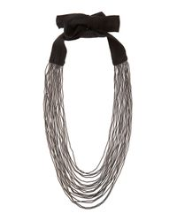 Stella McCartney | Black Multi-Strand Beaded Tie Necklace | Lyst