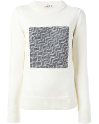 AALTO - White Contrast Knit Panel Sweater - Lyst