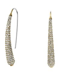 Michael Kors | Metallic Golden Pave Statement Drop Earrings | Lyst