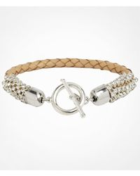 Express - Natural Rhinestone Wrapped Braided Toggle Bracelet - Lyst