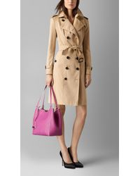 Burberry - Purple Small Canter Grained-Leather Tote - Lyst