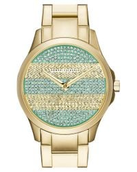 Armani Exchange - Metallic Pave Stripe Dial Watch - Lyst