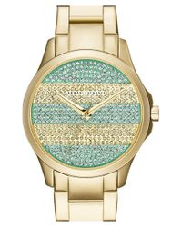 Armani Exchange | Metallic Pave Stripe Dial Watch | Lyst