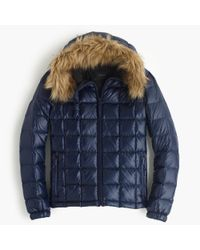J.Crew | Blue Short Quilted Puffer Jacket With Faux-fur Hood | Lyst