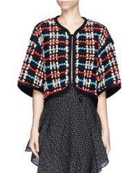 Chloé - Multicolor Cropped Wool Plaid Bolero - Lyst