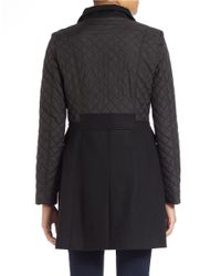 Kenneth Cole Reaction | Black Quilted Sleeve Mock-neck Coat | Lyst